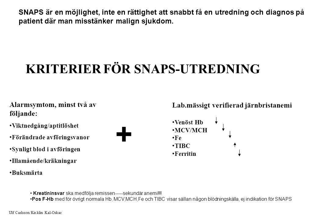 + KRITERIER FÖR SNAPS-UTREDNING