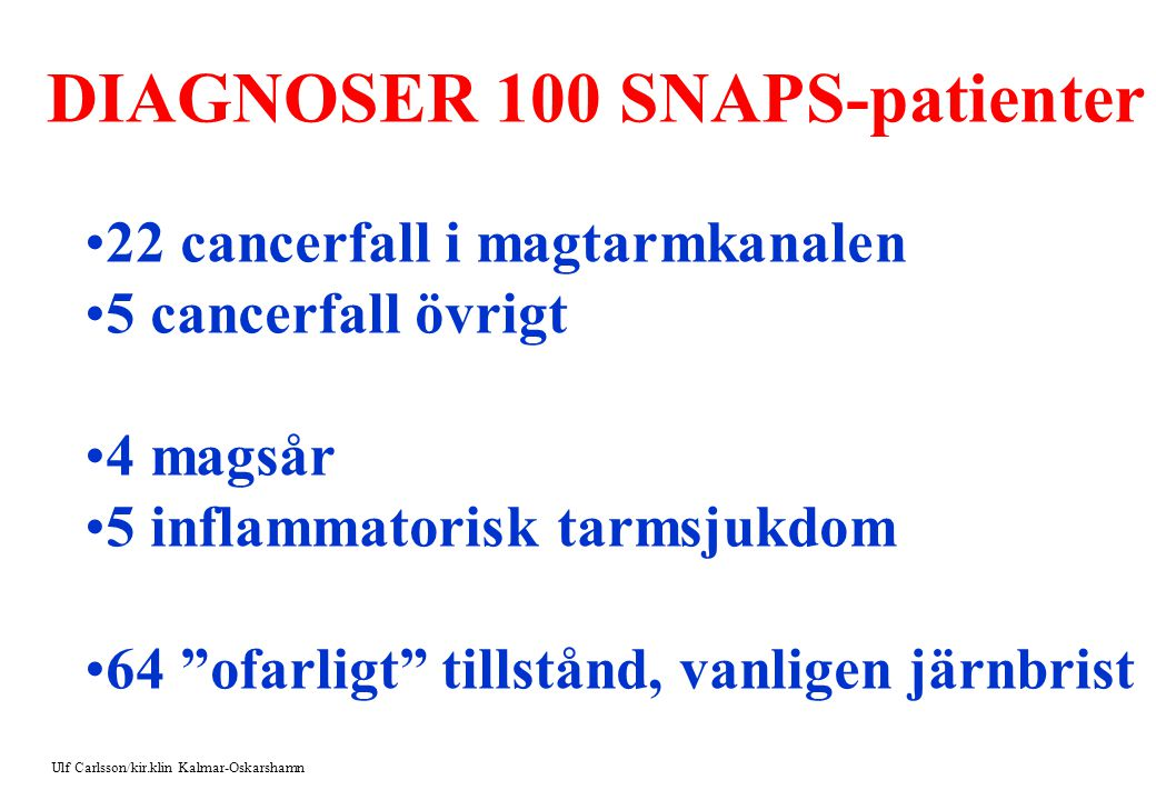 DIAGNOSER 100 SNAPS-patienter