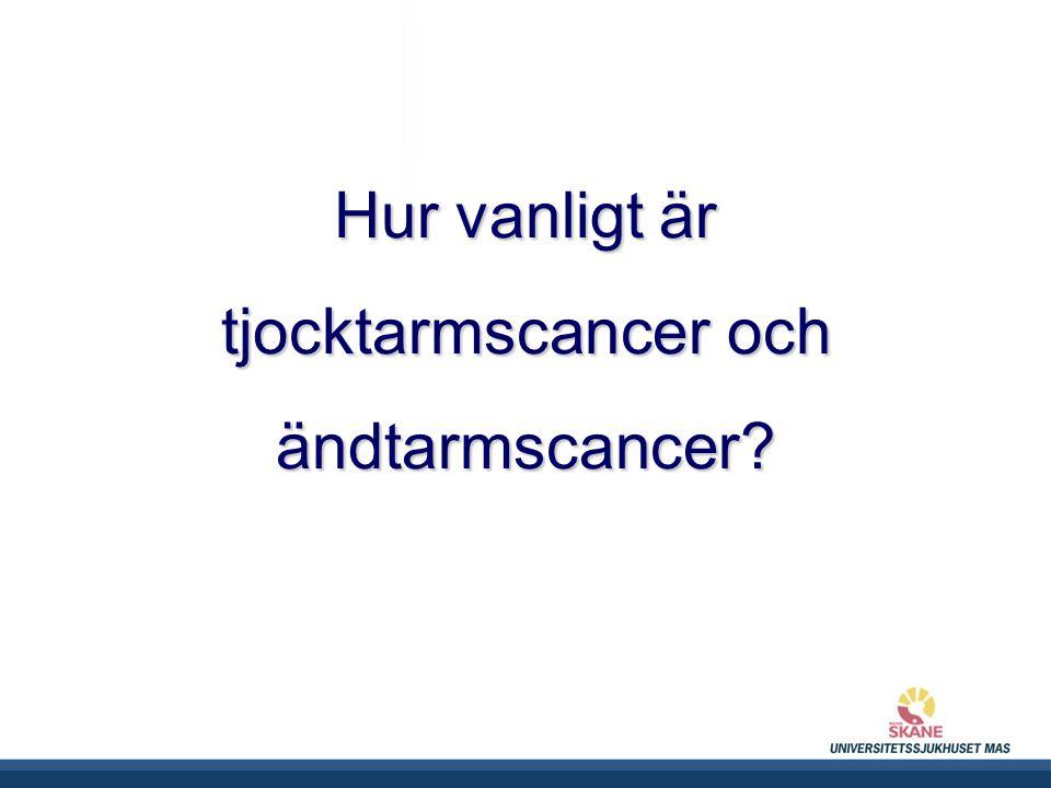 Hur vanligt är tjocktarmscancer och ändtarmscancer