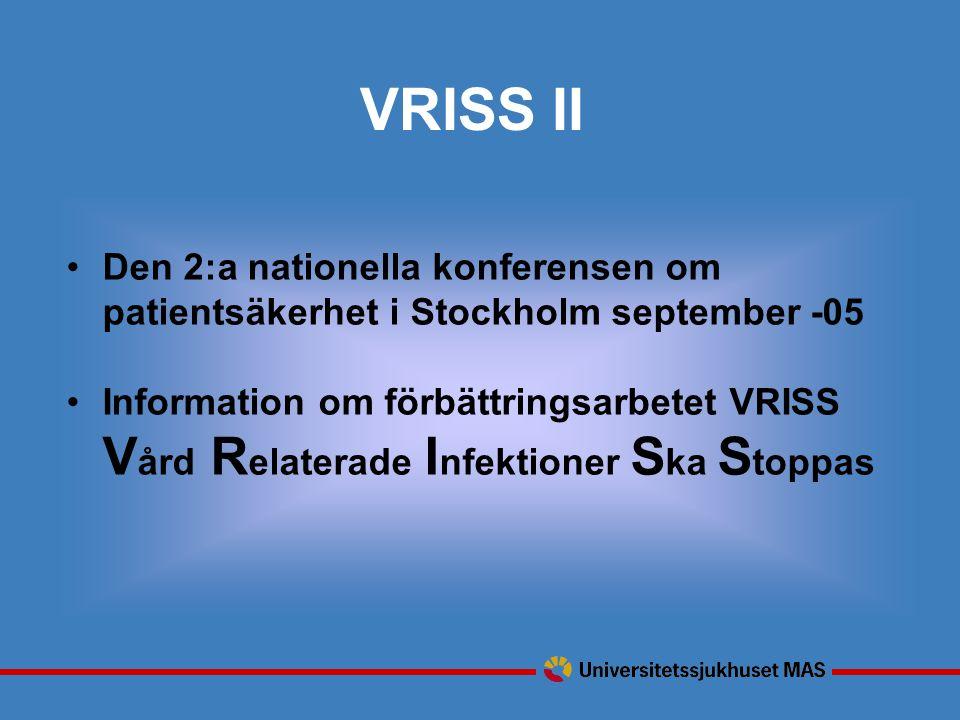 VRISS II Den 2:a nationella konferensen om patientsäkerhet i Stockholm september -05.