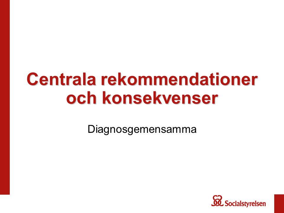 Centrala rekommendationer och konsekvenser