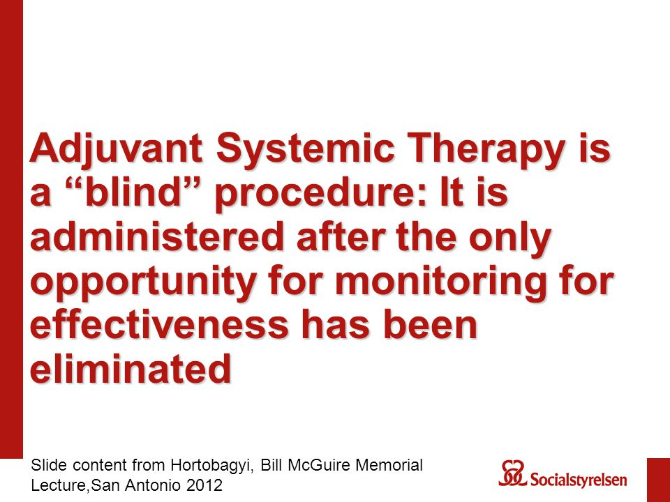 Adjuvant Systemic Therapy is a blind procedure: It is administered after the only opportunity for monitoring for effectiveness has been eliminated