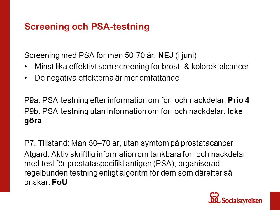 Screening och PSA-testning