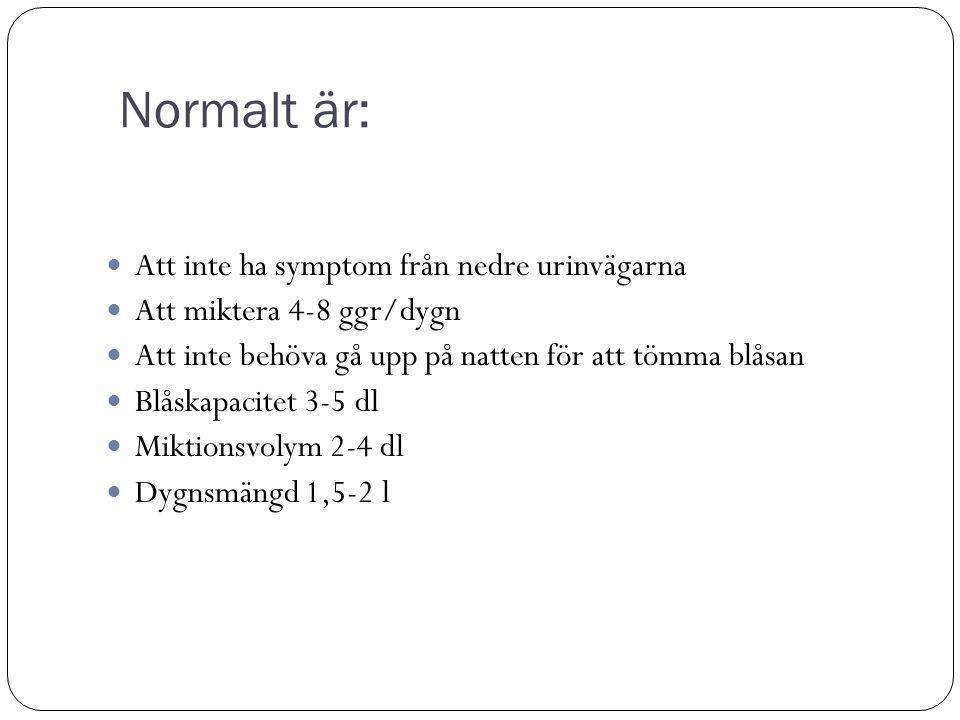 Normalt är: Att inte ha symptom från nedre urinvägarna