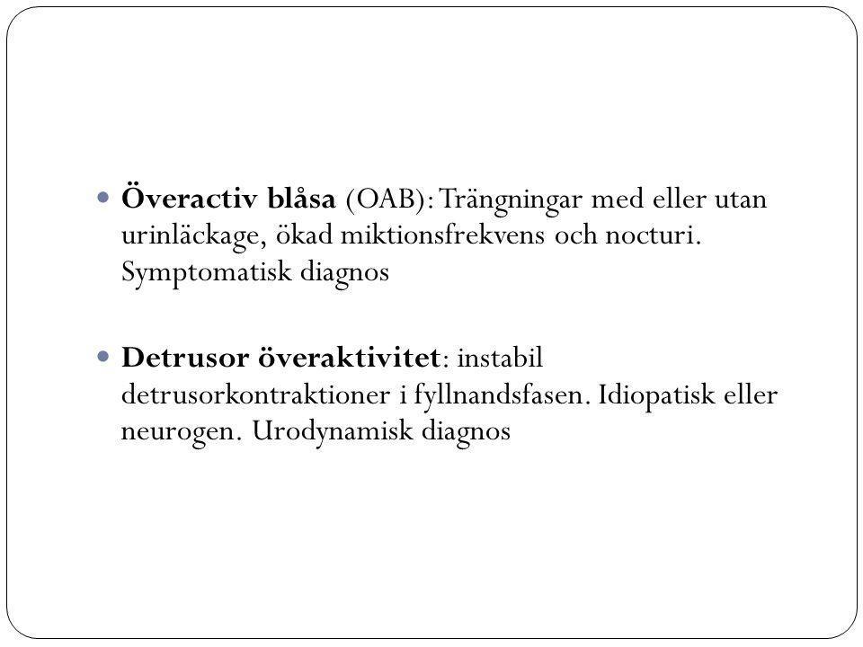 Överactiv blåsa (OAB): Trängningar med eller utan urinläckage, ökad miktionsfrekvens och nocturi. Symptomatisk diagnos