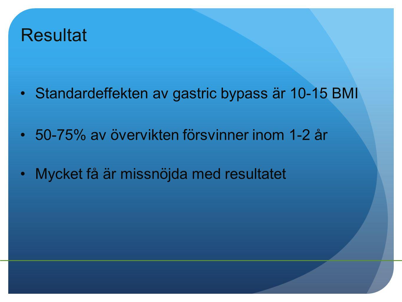 Resultat Standardeffekten av gastric bypass är 10-15 BMI