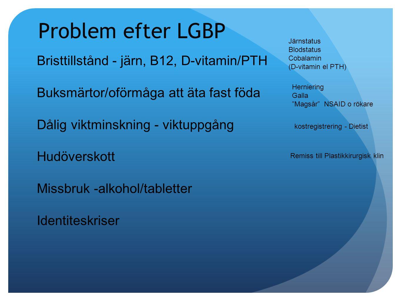 Problem efter LGBP Bristtillstånd - järn, B12, D-vitamin/PTH
