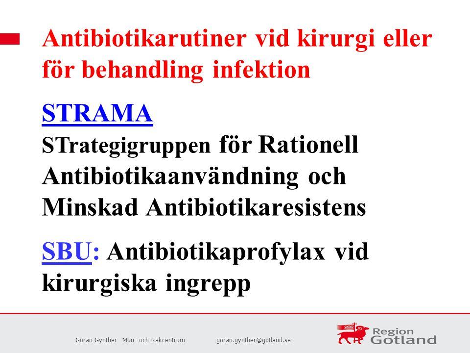Antibiotikarutiner vid kirurgi eller för behandling infektion STRAMA