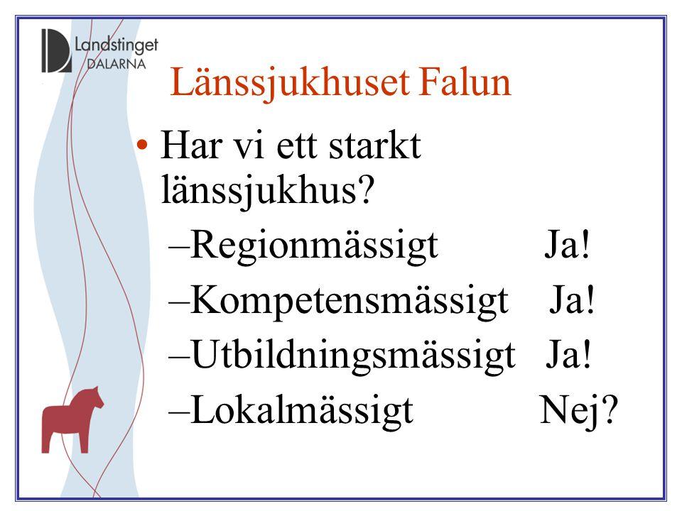 Länssjukhuset Falun Har vi ett starkt länssjukhus Regionmässigt Ja! Kompetensmässigt Ja! Utbildningsmässigt Ja!