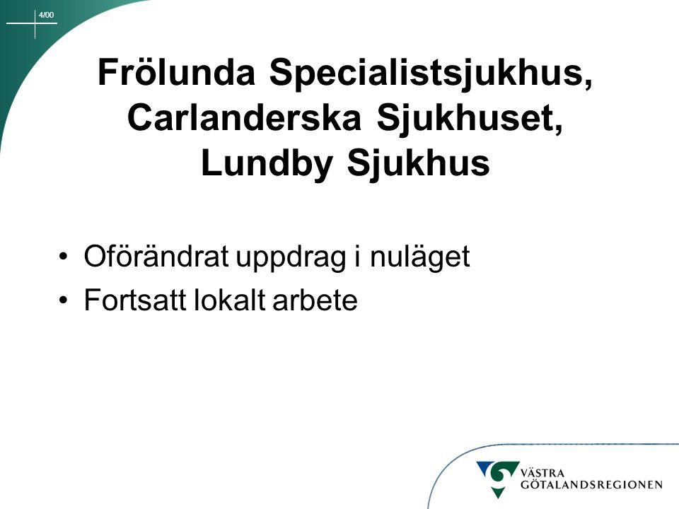 Frölunda Specialistsjukhus, Carlanderska Sjukhuset, Lundby Sjukhus
