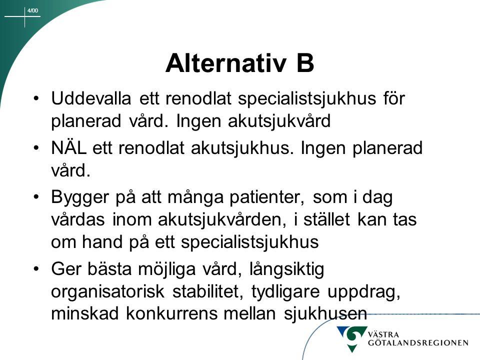 Alternativ B Uddevalla ett renodlat specialistsjukhus för planerad vård. Ingen akutsjukvård. NÄL ett renodlat akutsjukhus. Ingen planerad vård.