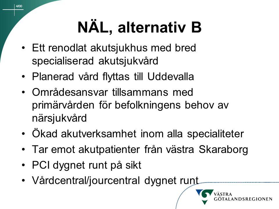 NÄL, alternativ B Ett renodlat akutsjukhus med bred specialiserad akutsjukvård. Planerad vård flyttas till Uddevalla.