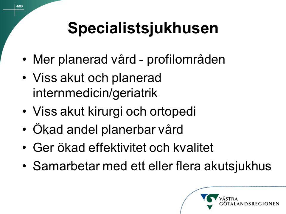 Specialistsjukhusen Mer planerad vård - profilområden