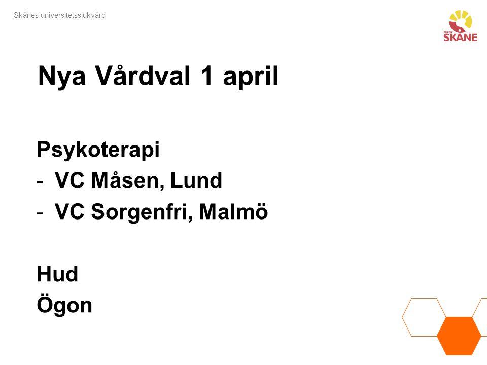 Nya Vårdval 1 april Psykoterapi VC Måsen, Lund VC Sorgenfri, Malmö Hud