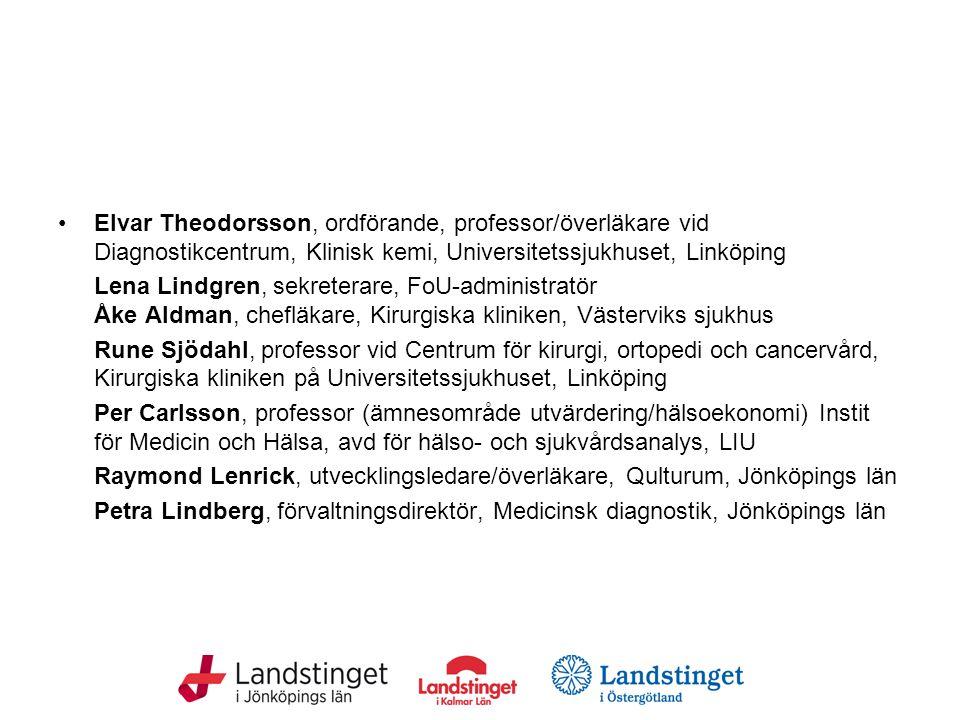 Elvar Theodorsson, ordförande, professor/överläkare vid Diagnostikcentrum, Klinisk kemi, Universitetssjukhuset, Linköping