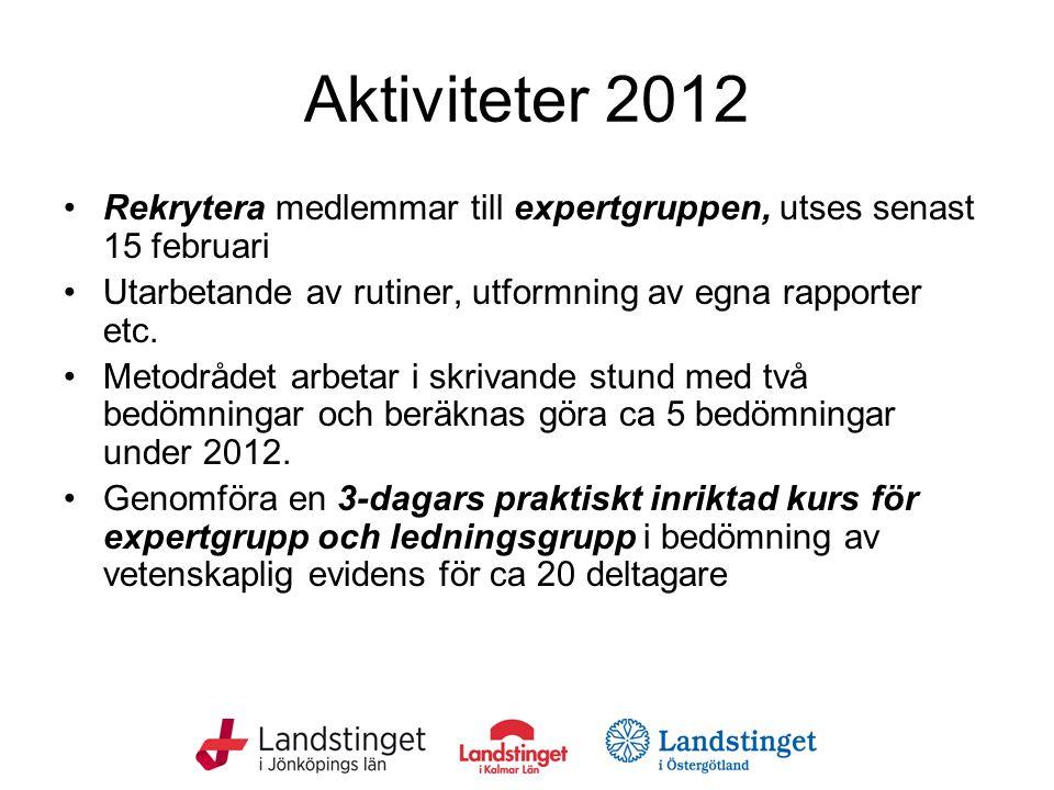 Aktiviteter 2012 Rekrytera medlemmar till expertgruppen, utses senast 15 februari. Utarbetande av rutiner, utformning av egna rapporter etc.