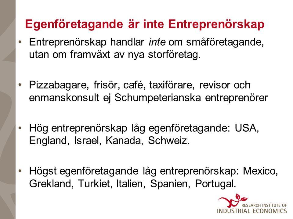 Egenföretagande är inte Entreprenörskap