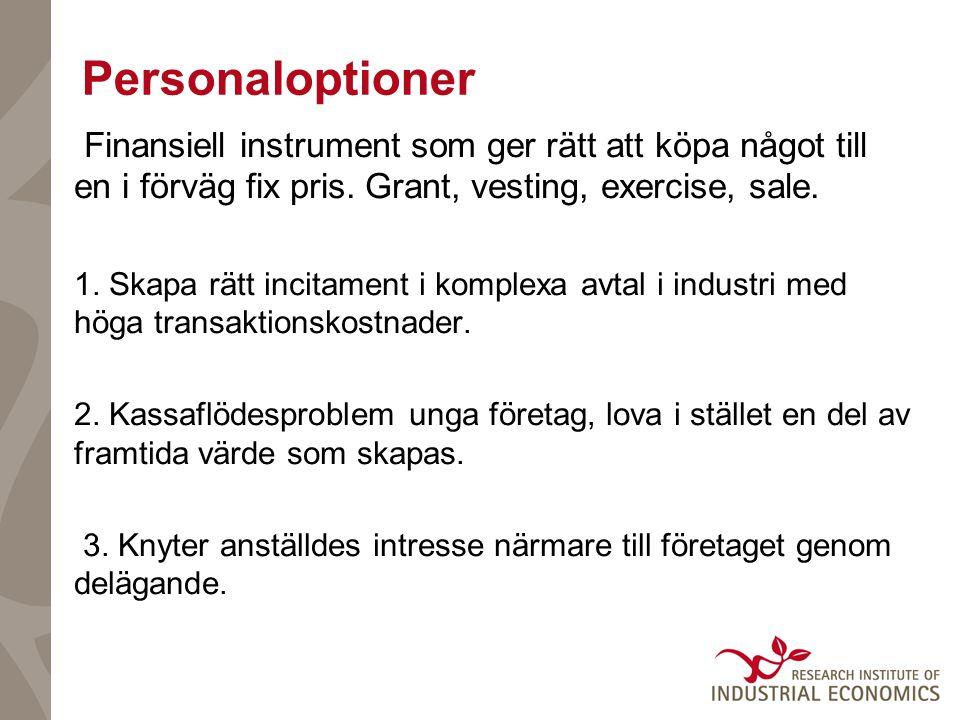 Personaloptioner Finansiell instrument som ger rätt att köpa något till en i förväg fix pris. Grant, vesting, exercise, sale.