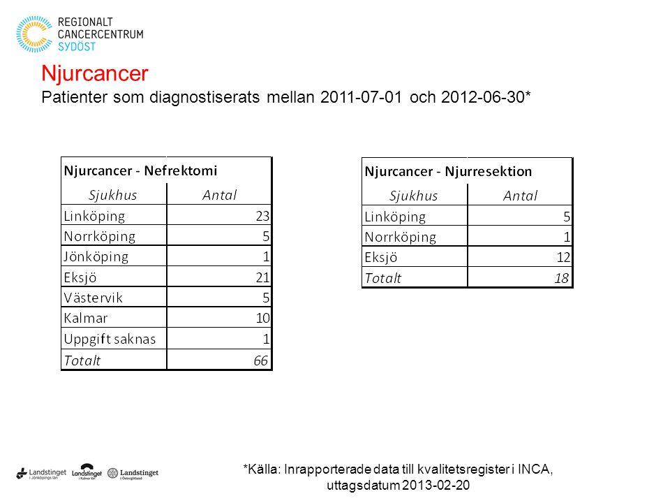 Njurcancer Patienter som diagnostiserats mellan 2011-07-01 och 2012-06-30*