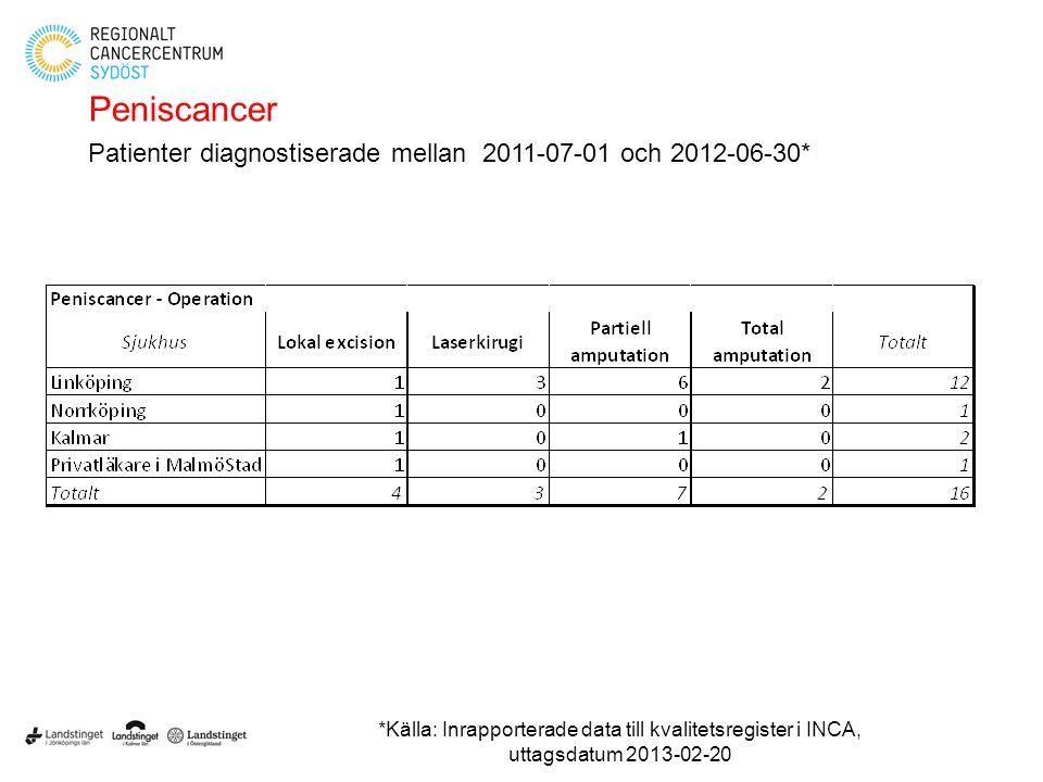 Peniscancer Patienter diagnostiserade mellan 2011-07-01 och 2012-06-30*