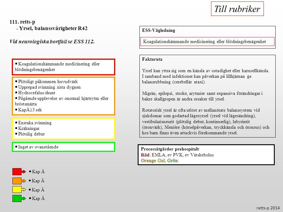 Till rubriker 111. retts-p - Yrsel, balanssvårigheter R42