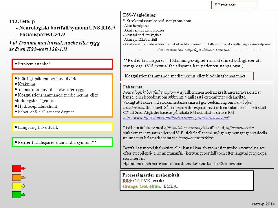 - Neurologiskt bortfall/symtom UNS R16.9 - Facialispares G51.9