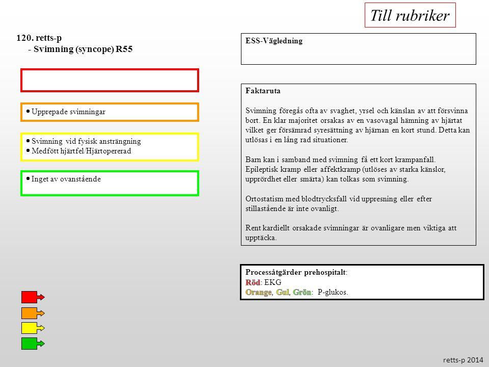 Till rubriker 120. retts-p - Svimning (syncope) R55 ESS-Vägledning