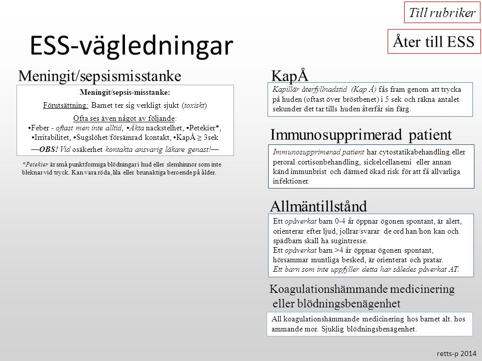 ESS-vägledningar Åter till ESS Meningit/sepsismisstanke KapÅ