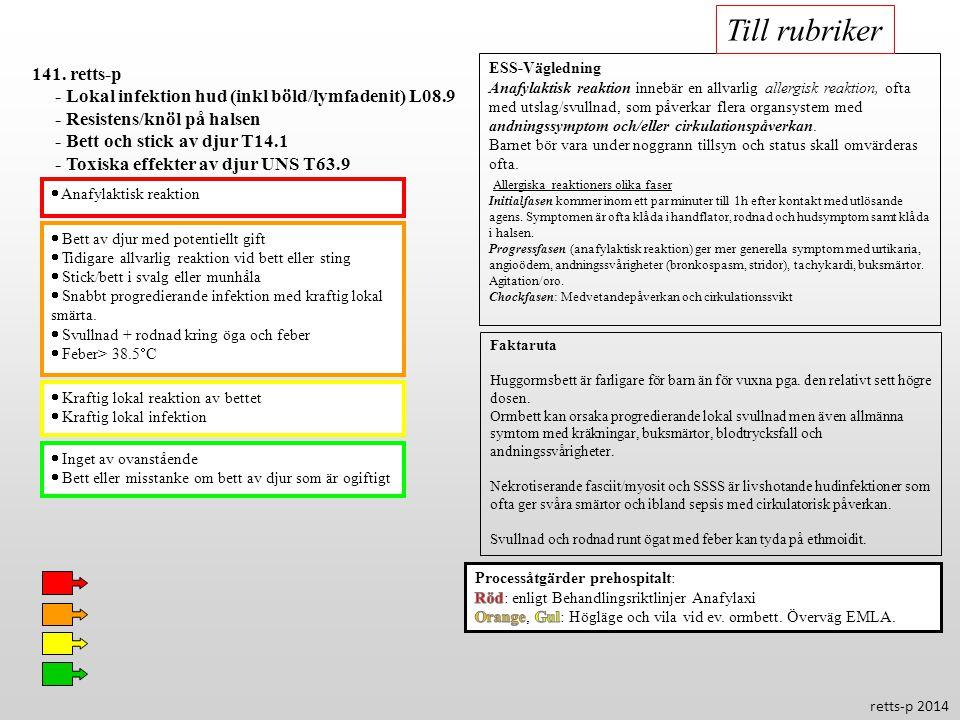 Till rubriker 141. retts-p. - Lokal infektion hud (inkl böld/lymfadenit) L08.9. - Resistens/knöl på halsen.