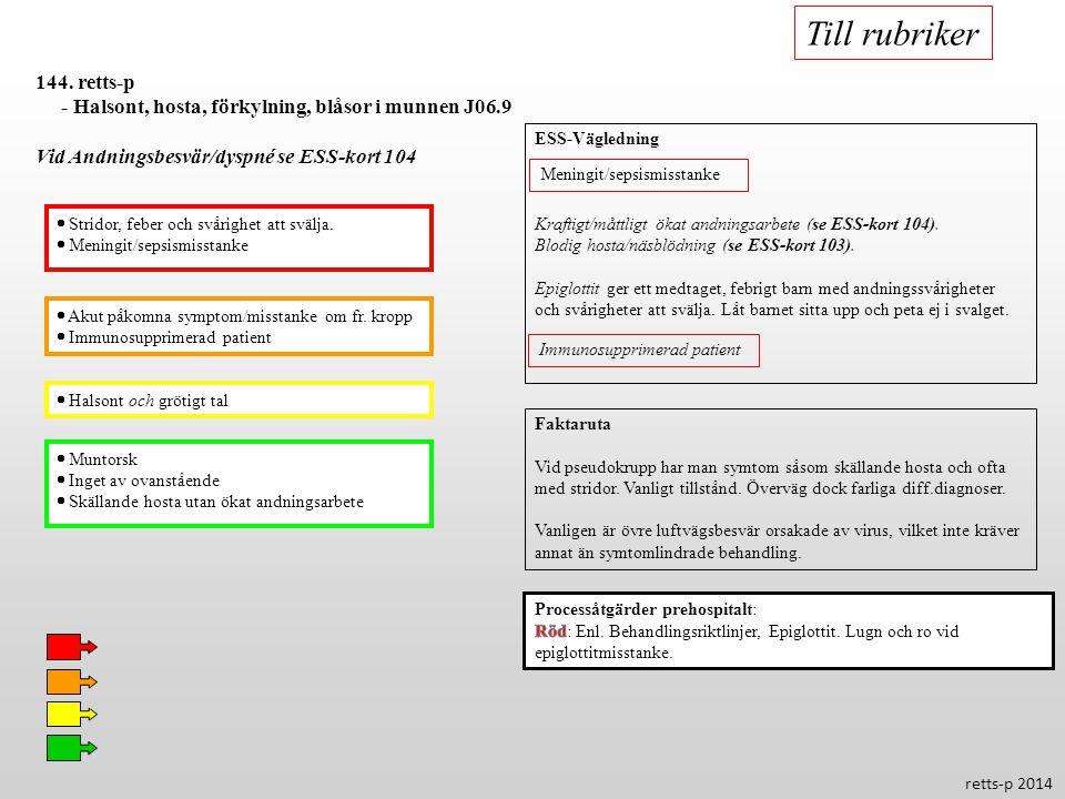 Till rubriker 144. retts-p. - Halsont, hosta, förkylning, blåsor i munnen J06.9. Vid Andningsbesvär/dyspné se ESS-kort 104.