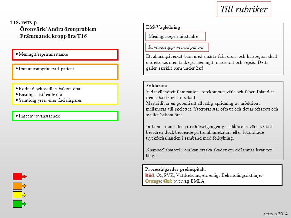 Till rubriker 145. retts-p - Öronvärk/ Andra öronproblem