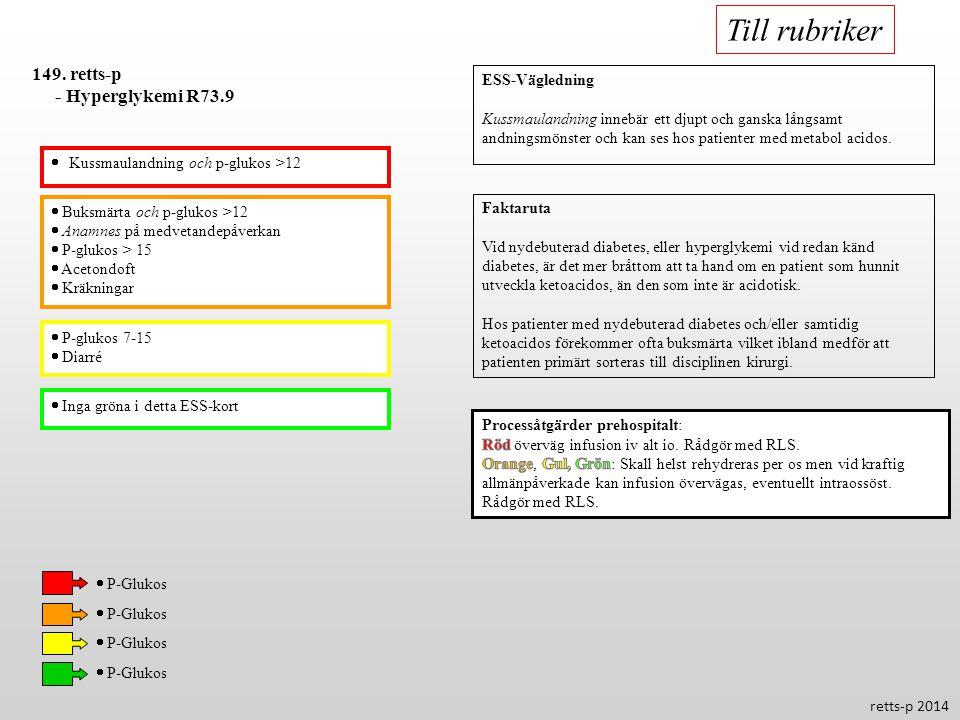 Till rubriker 149. retts-p - Hyperglykemi R73.9 ESS-Vägledning