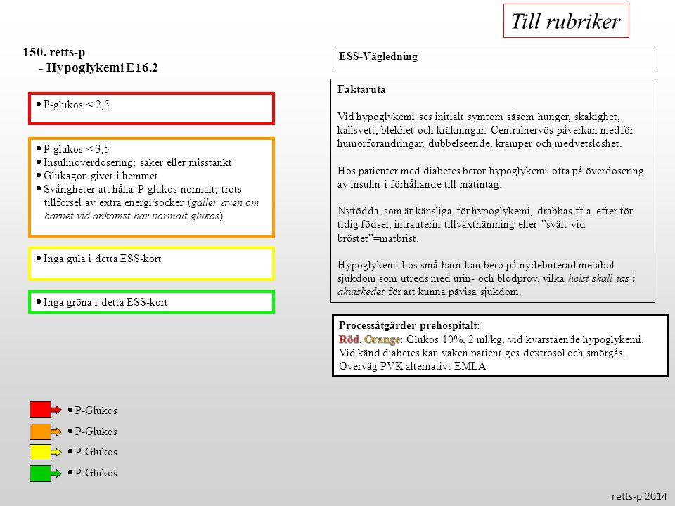 Till rubriker 150. retts-p - Hypoglykemi E16.2 ESS-Vägledning