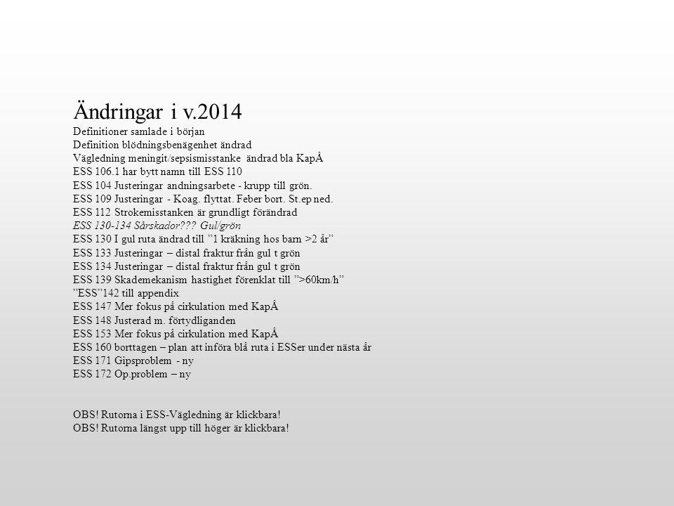 Ändringar i v.2014 Definitioner samlade i början