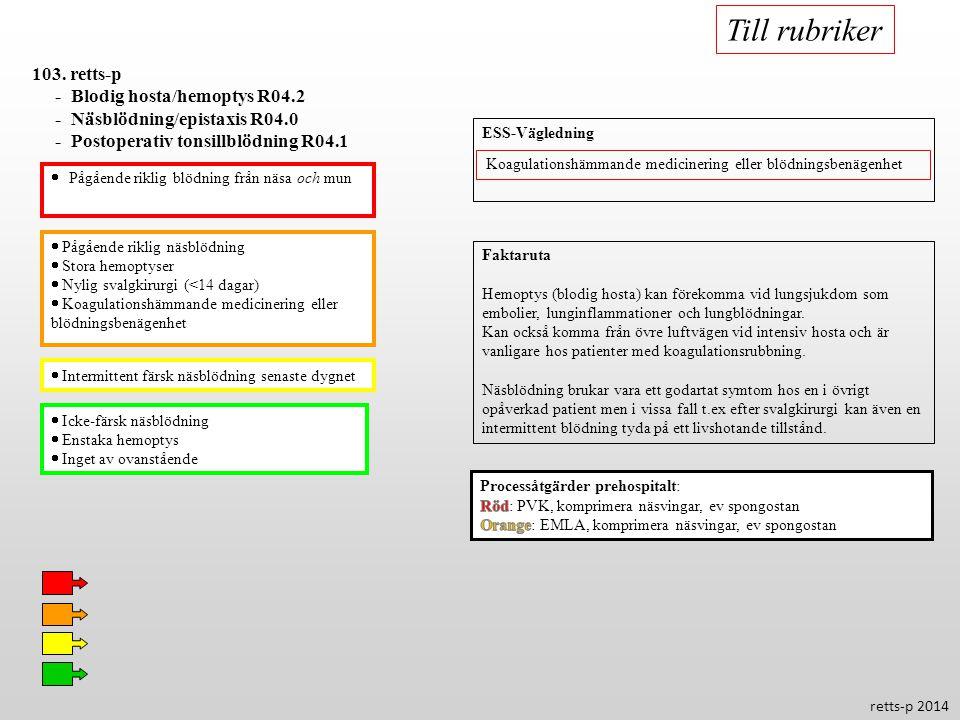 Till rubriker 103. retts-p - Blodig hosta/hemoptys R04.2