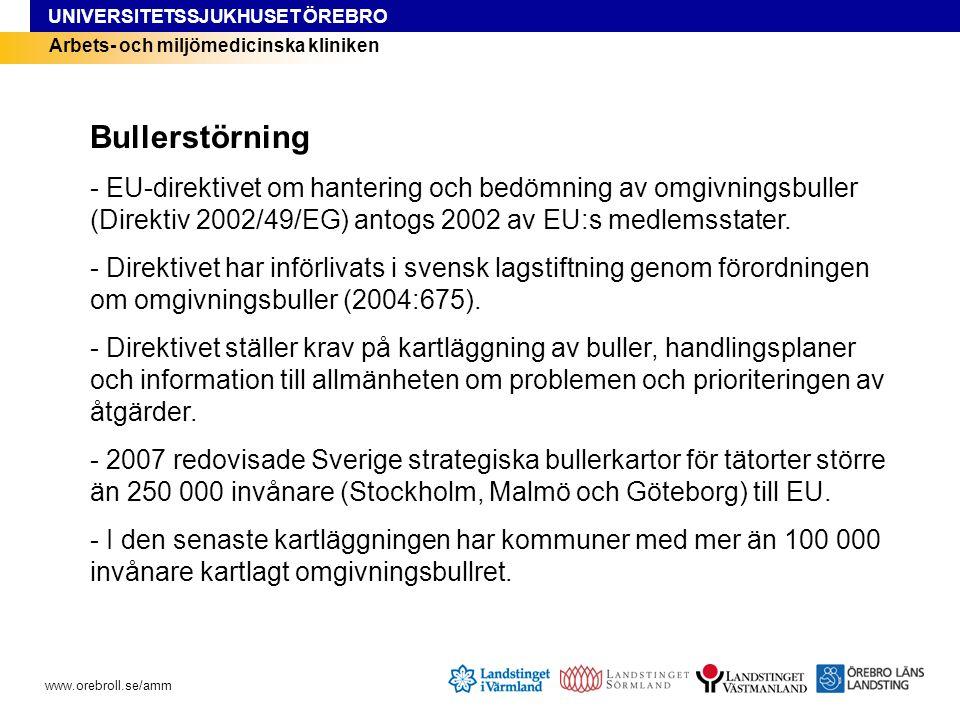 Bullerstörning - EU-direktivet om hantering och bedömning av omgivningsbuller (Direktiv 2002/49/EG) antogs 2002 av EU:s medlemsstater.