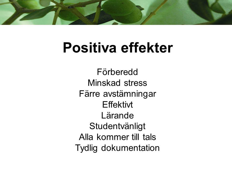 Positiva effekter Förberedd Minskad stress Färre avstämningar