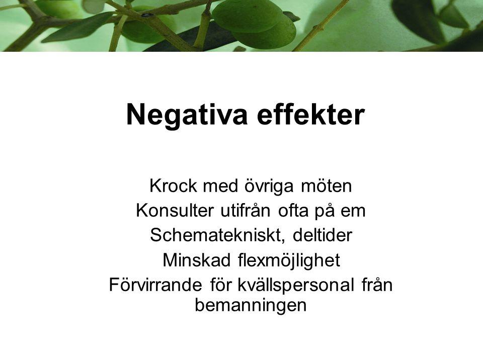 Negativa effekter Krock med övriga möten Konsulter utifrån ofta på em