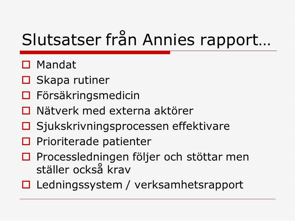 Slutsatser från Annies rapport…