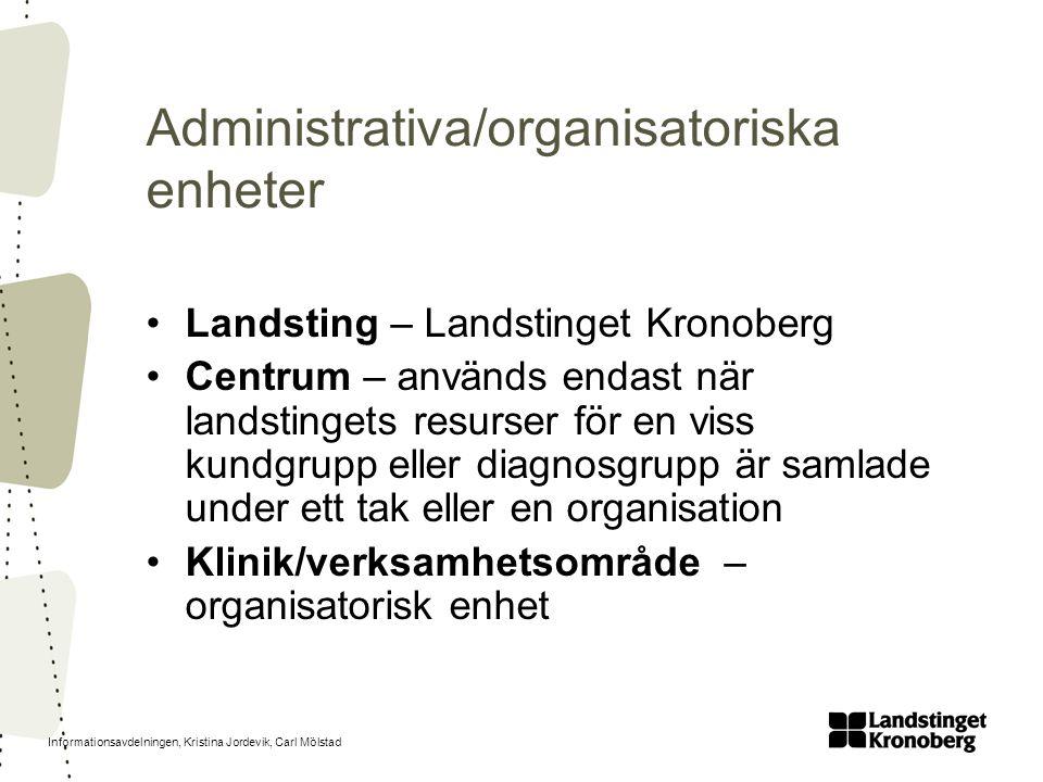 Administrativa/organisatoriska enheter