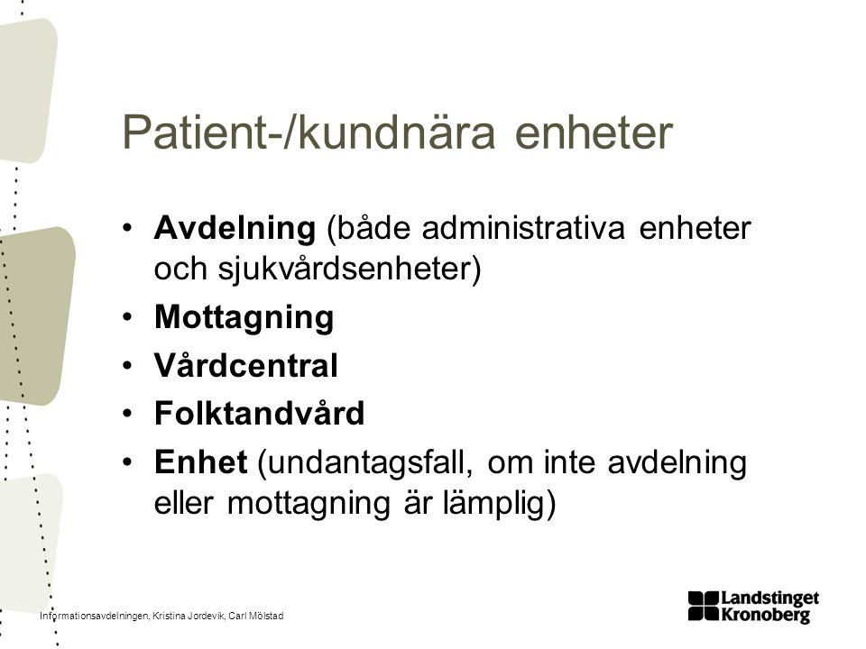 Patient-/kundnära enheter