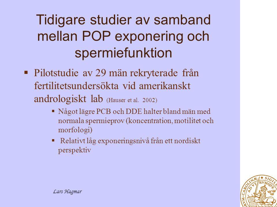 Tidigare studier av samband mellan POP exponering och spermiefunktion