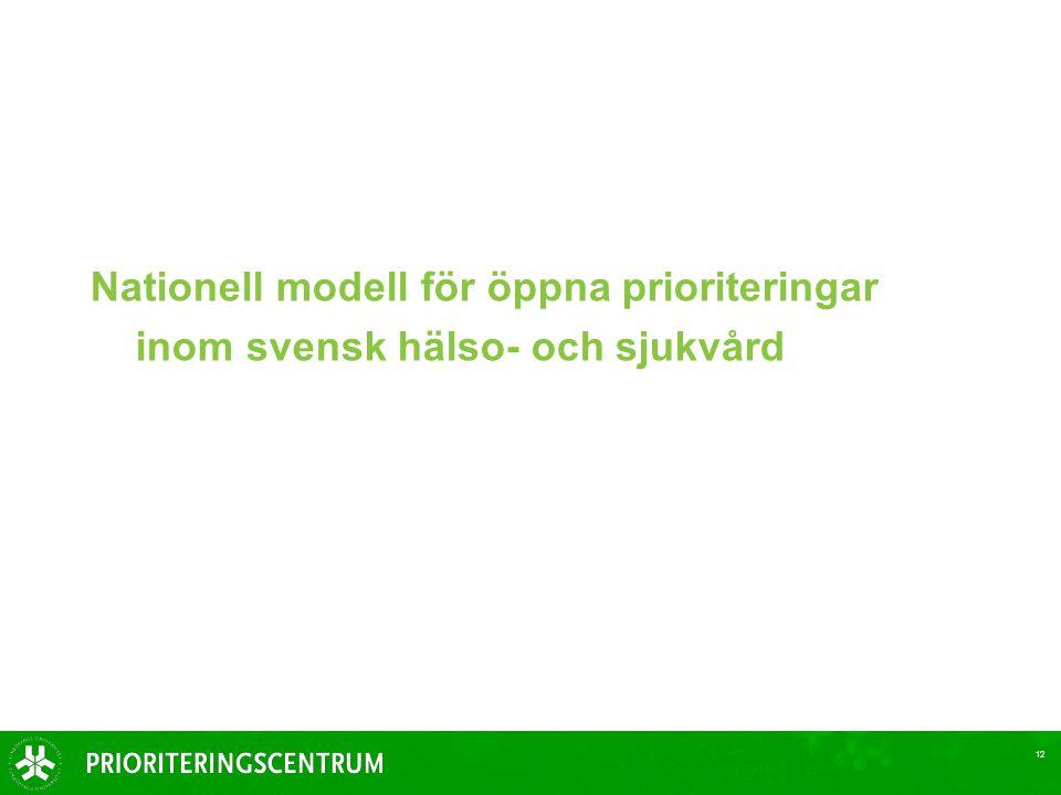 Nationell modell för öppna prioriteringar