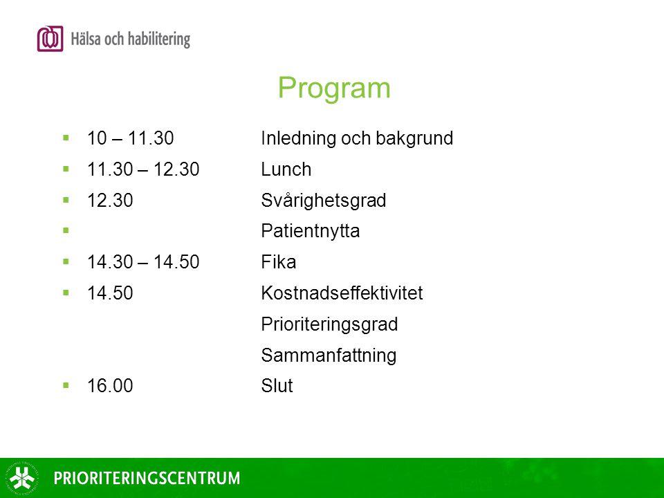 Program 10 – 11.30 Inledning och bakgrund 11.30 – 12.30 Lunch