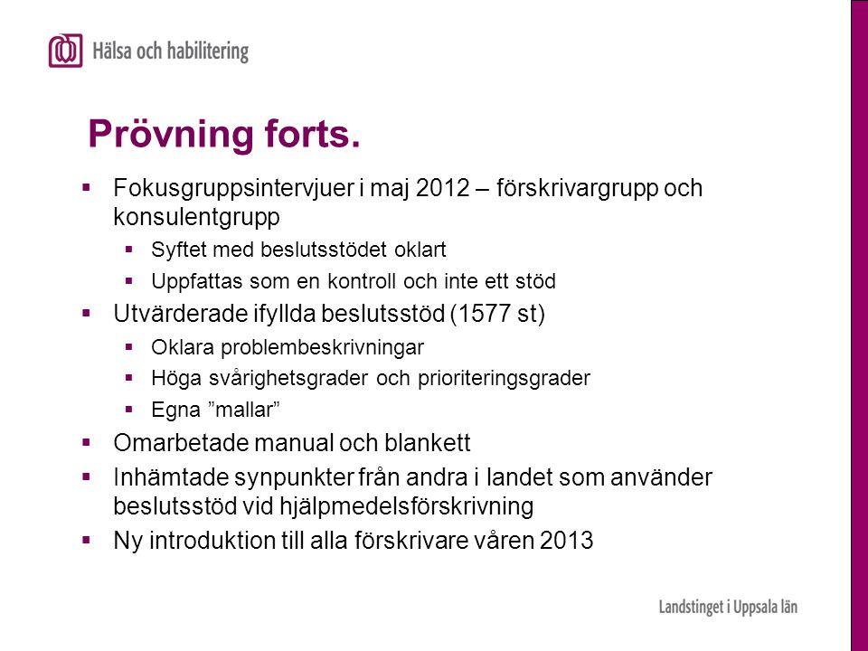 Prövning forts. Fokusgruppsintervjuer i maj 2012 – förskrivargrupp och konsulentgrupp. Syftet med beslutsstödet oklart.