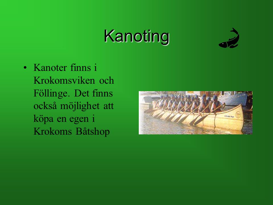 Kanoting Kanoter finns i Krokomsviken och Föllinge.