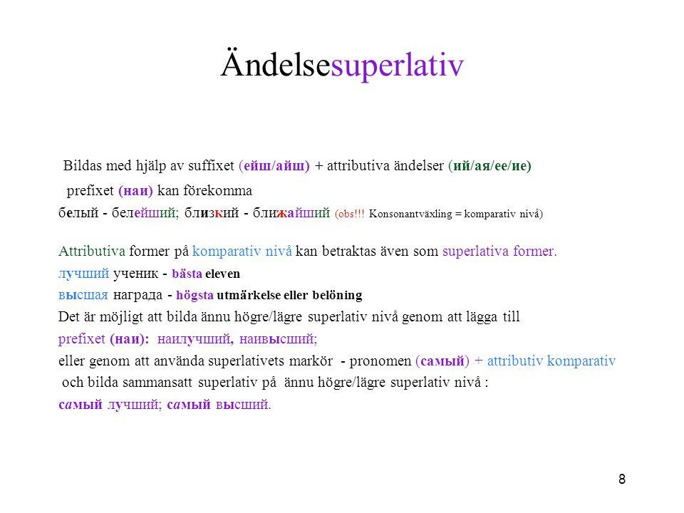 Ändelsesuperlativ Bildas med hjälp av suffixet (eйш/айш) + attributiva ändelser (ий/ая/ее/ие) prefixet (наи) kan förekomma.