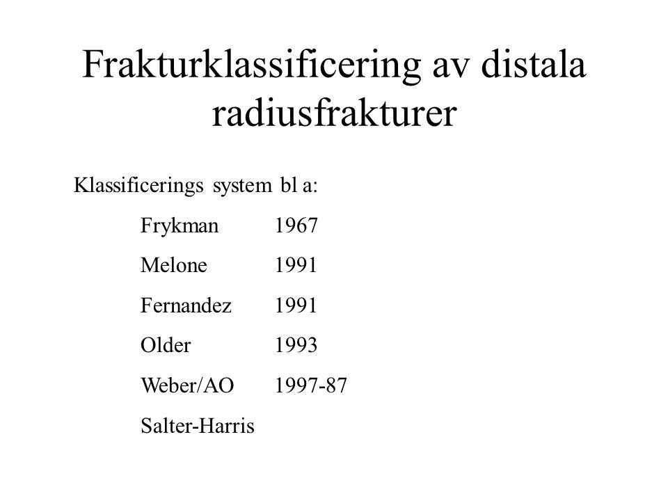 Frakturklassificering av distala radiusfrakturer