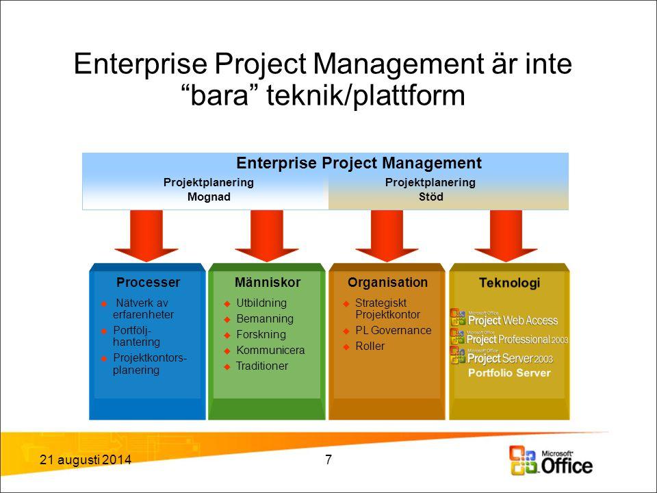 Enterprise Project Management är inte bara teknik/plattform