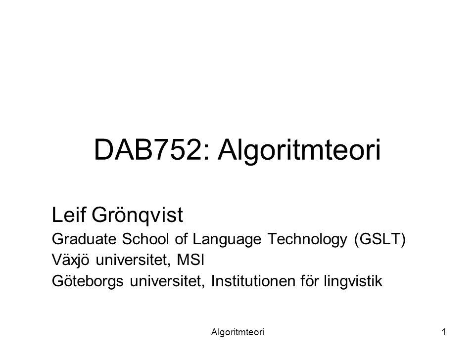 DAB752: Algoritmteori Leif Grönqvist